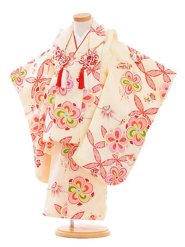 七五三レンタル(3歳女の子被布)3340 クリーム色 ねじり梅