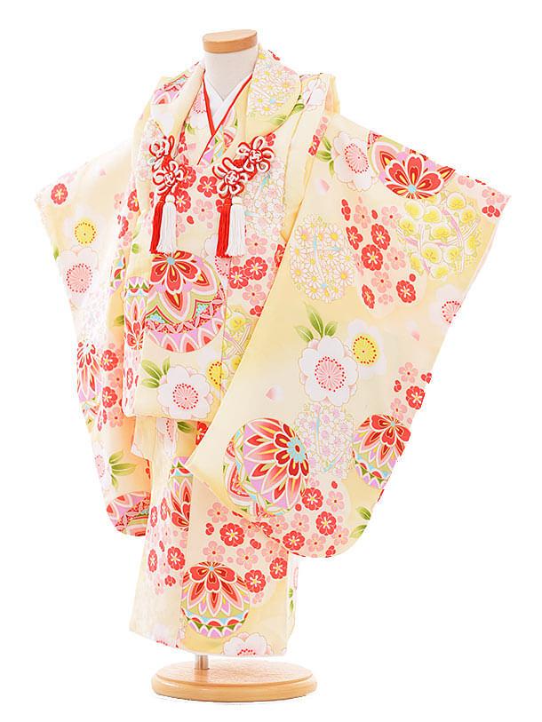 七五三レンタル(3歳女の子被布)3342 クリーム色 まり 小花