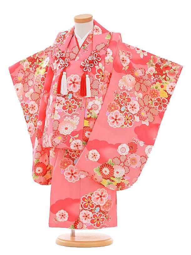 七五三レンタル(3歳女の子被布)3343 ピンク 雲取 菊梅