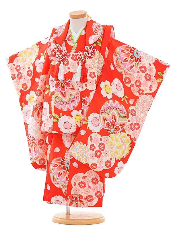 七五三レンタル(3歳女の子被布)3344 赤地 まり 小花