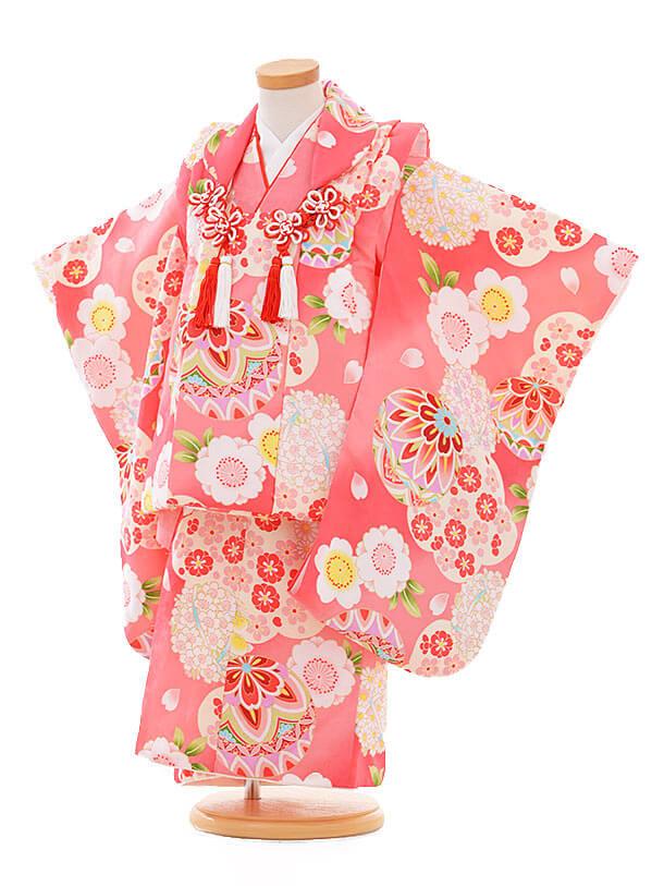 七五三レンタル(3歳女の子被布)3347 ピンク まり 小花