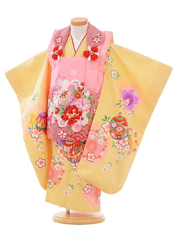 七五三レンタル(3歳女被布)3353 ピンク×薄黄色桜鈴