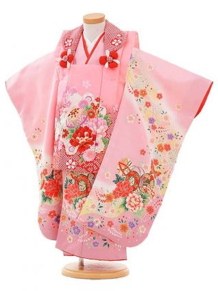 七五三レンタル(3歳女被布)3359 ピンク×ピンク