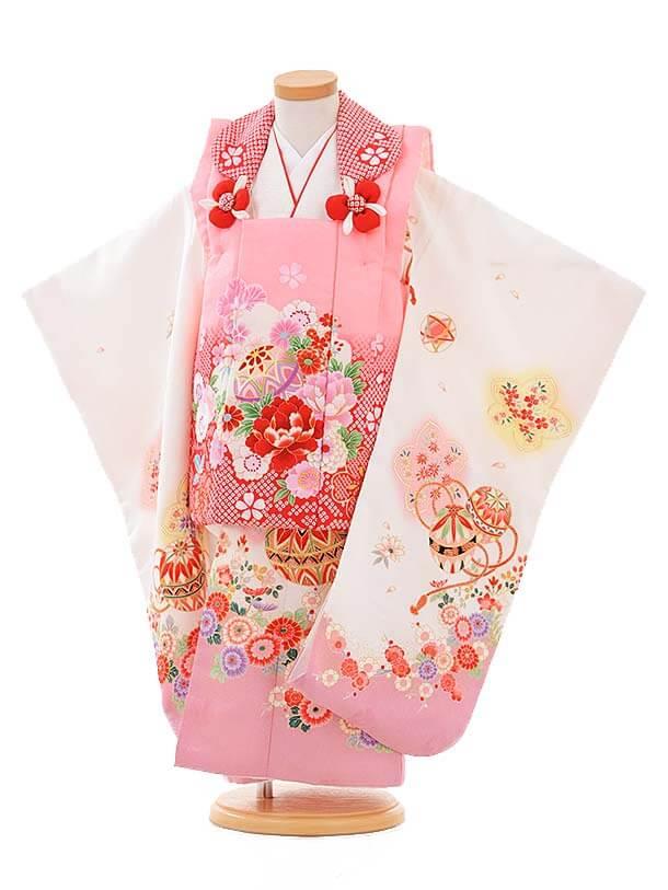 七五三レンタル(3歳女被布)3361 ピンク×白まり花