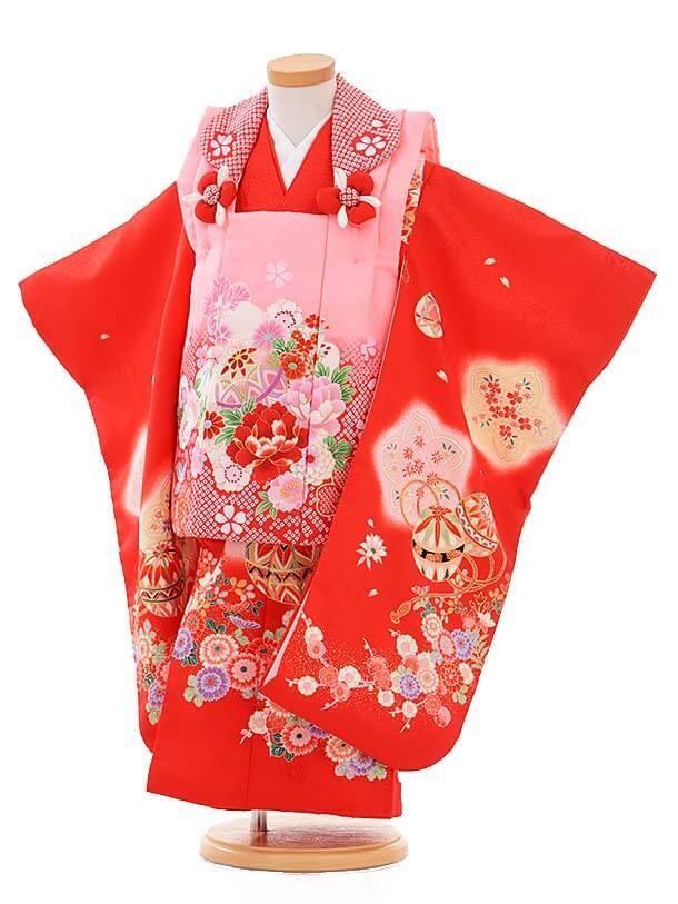 七五三レンタル(3歳女被布)3362 ピンク×赤まり花