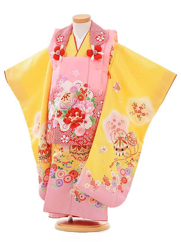 七五三レンタル(3歳女被布)3363 ピンク×黄色まり花