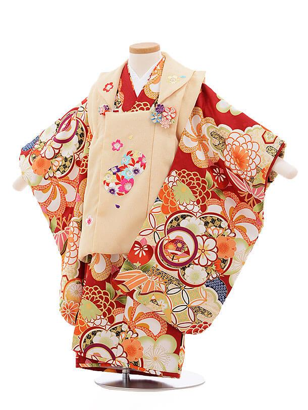 七五三レンタル(3歳女被布)3369 クリーム色×赤 古典