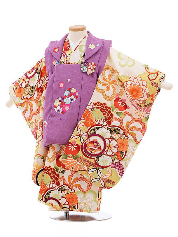七五三レンタル(3歳女被布)3372 紫×クリーム色 古典