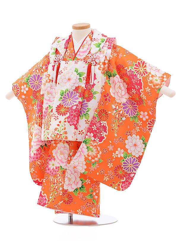 七五三レンタル(3歳女被布)3376 白×オレンジ 花づくし