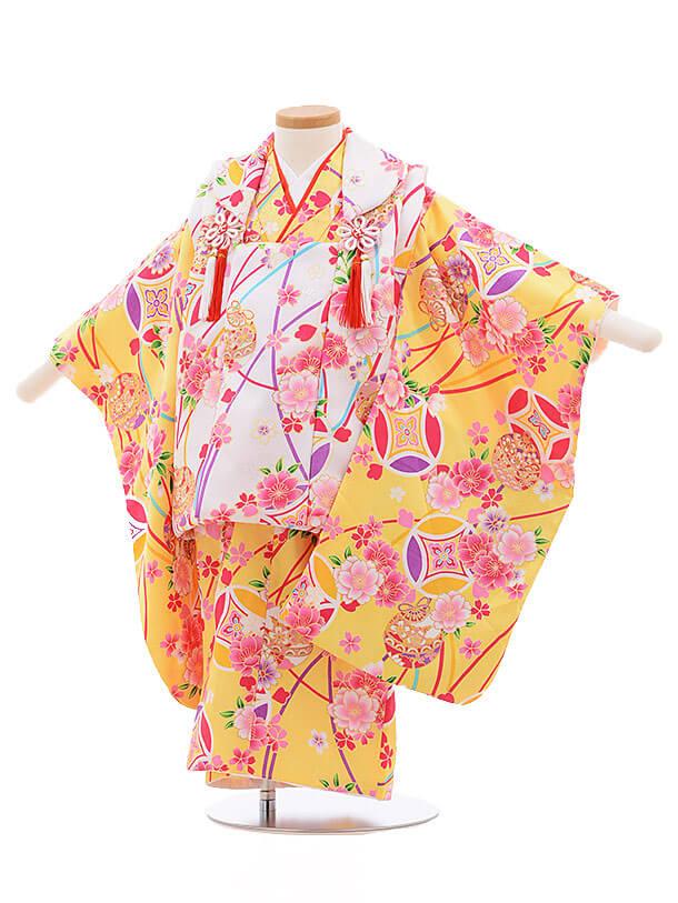 七五三レンタル(3歳女被布)3377 白×きいろ 桜に鈴