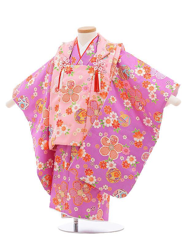 七五三レンタル(3歳女被布)3381 ピンク×パープル 小花