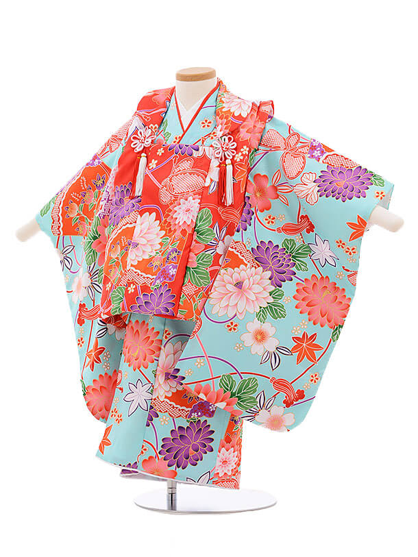 七五三レンタル(3歳女被布)3384 赤×水色 扇に花