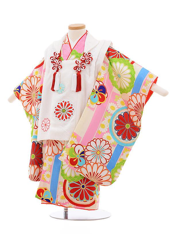 七五三レンタル(3歳女被布)3390 紅一点 白×クリーム地 ピンク菊