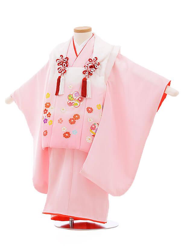 七五三レンタル(3歳女被布)3397 白ピンクぼかし×ピンク小花