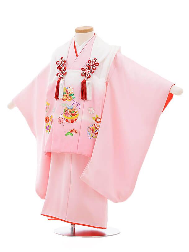 七五三レンタル(3歳女被布)3398 白ピンクぼかし×ピンクまり