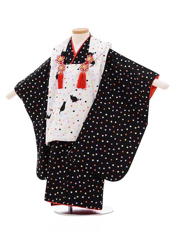七五三レンタル(3歳女被布)3399 式部浪漫 白×黒 ドット猫