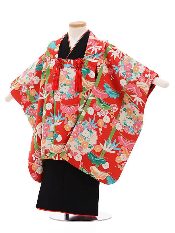 七五三レンタル(3歳女被布)3400 赤袖付き被布×黒