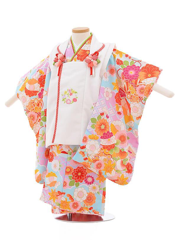 七五三レンタル(3歳女被布)3402 白×水色 まり 花