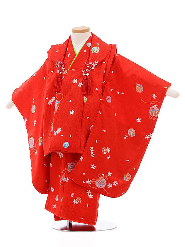 七五三レンタル(3歳女被布)3405 赤×赤地 まり 桜