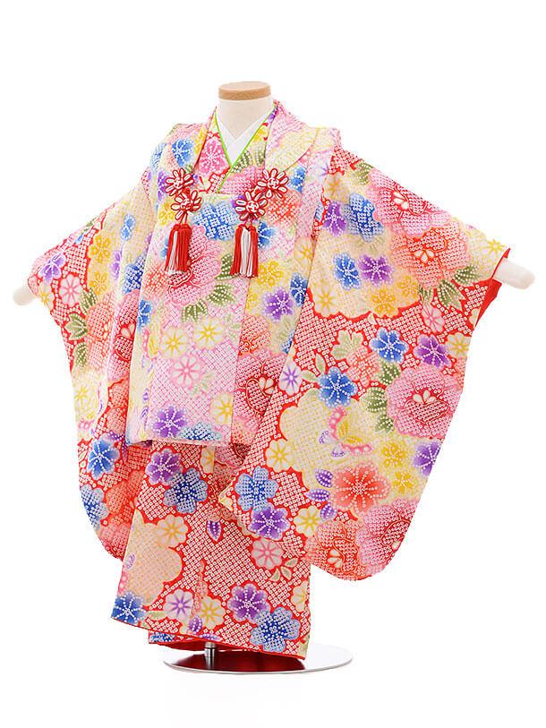 七五三レンタル(3歳女被布)3407 ピンク×赤地 雲取り 花