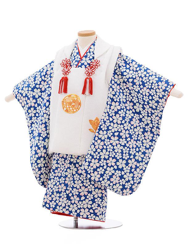七五三レンタル(3歳女被布)3408 白×ブルー地 桜
