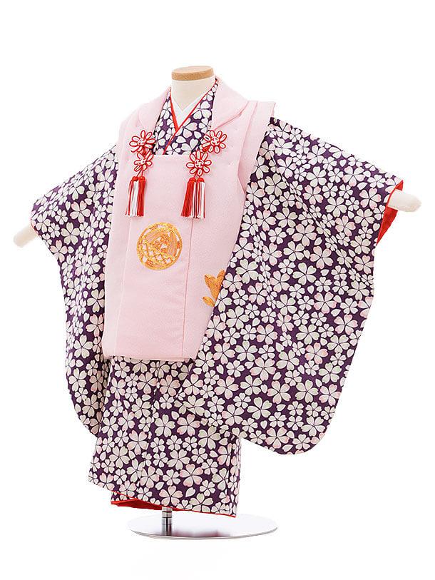 七五三レンタル(3歳女被布)3409 ピンク×パープル地 桜