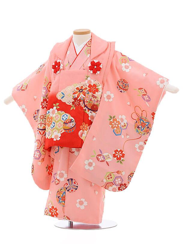 七五三レンタル(3歳女被布)3410 ピンク×ピンク地 まり 桜