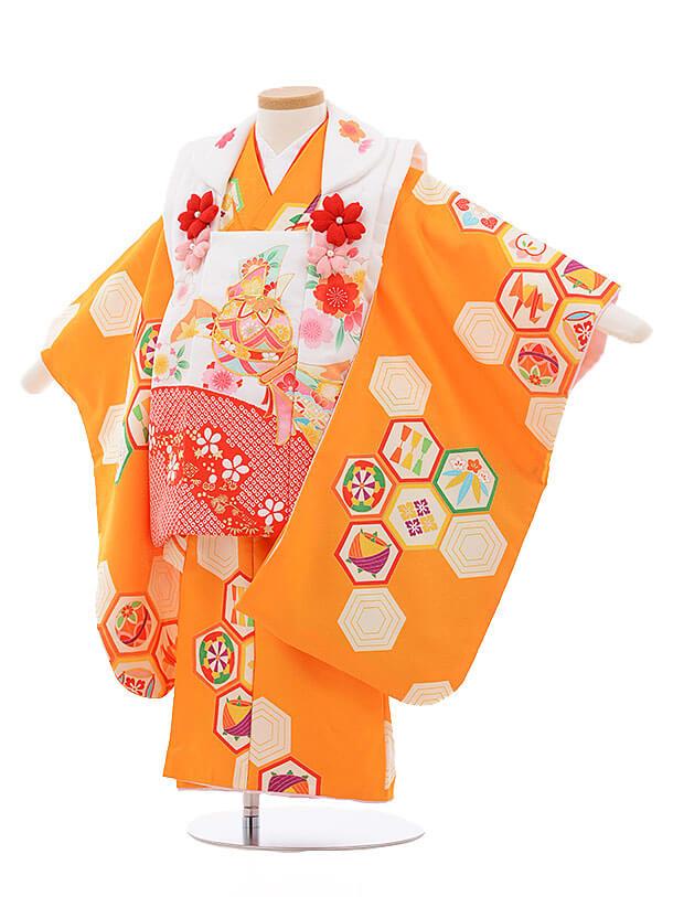 七五三レンタル(3歳女被布)3411 白×オレンジ 古典