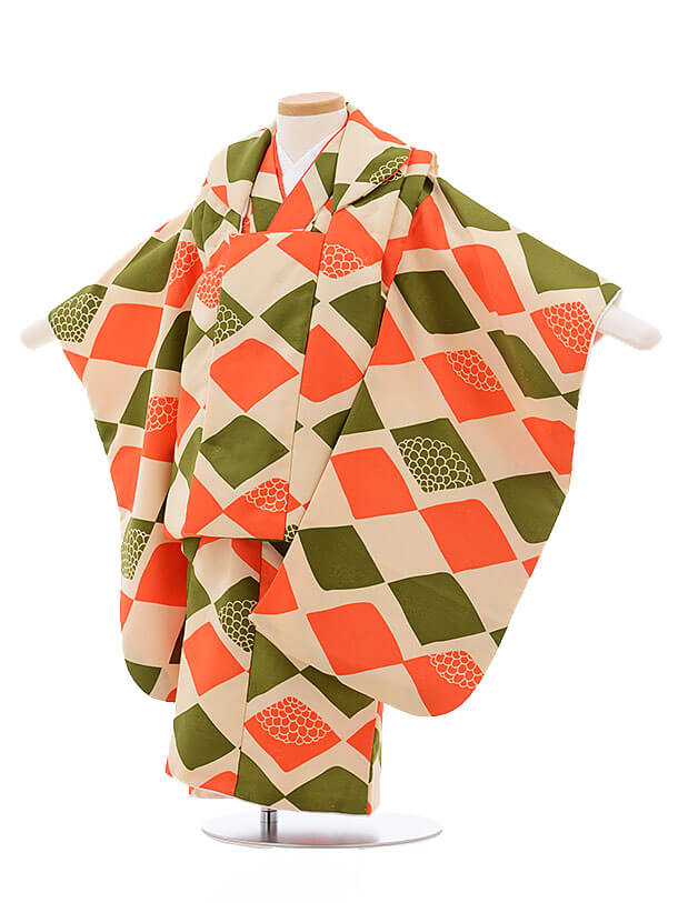 七五三レンタル(3歳女被布)3421 ベージュ×オレンジ 抹茶色菱