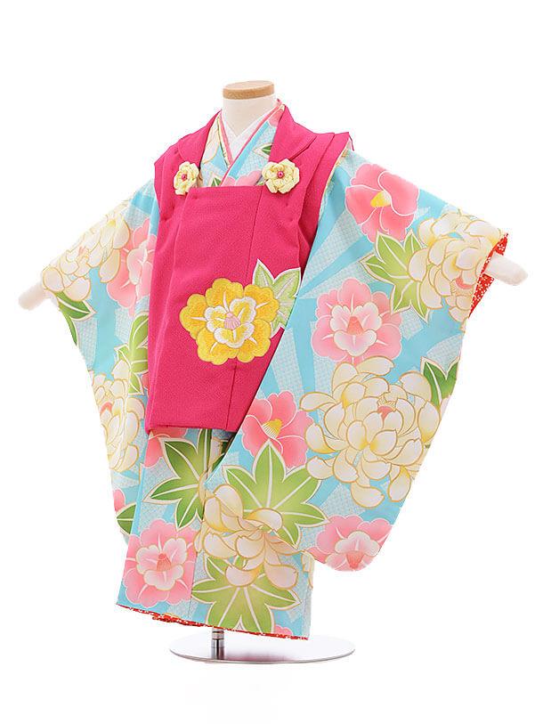 七五三レンタル(3歳女被布)3422 花わらべ ピンク×水色 八重椿