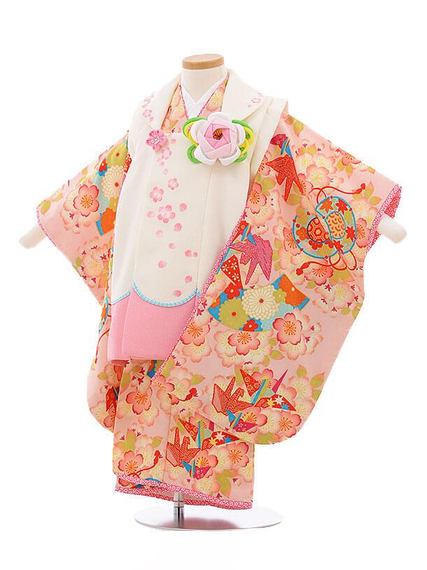 七五三レンタル(3歳女被布)3424乙葉 白×ピンク 桜折鶴