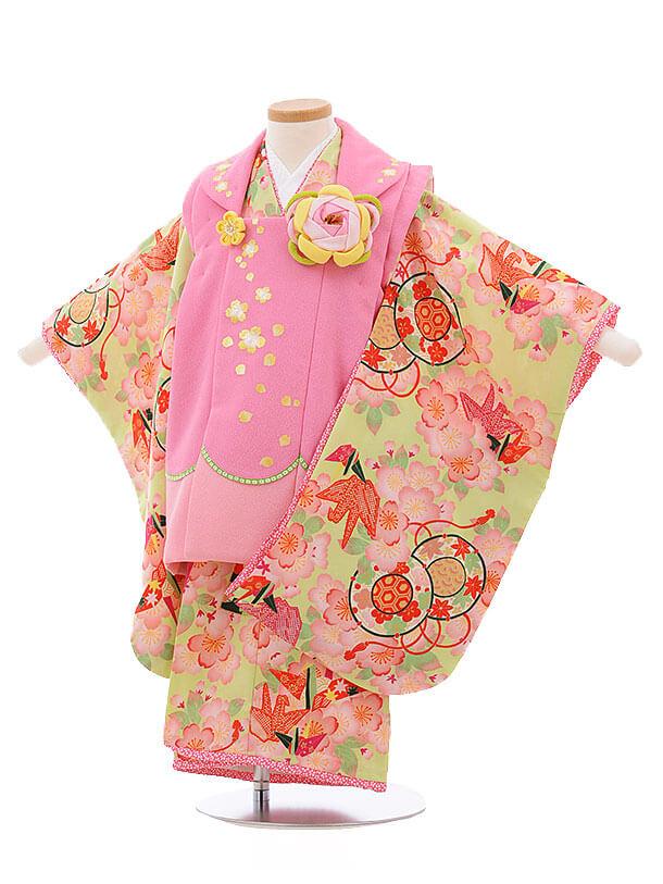 七五三レンタル(3歳女被布)3425乙葉 ピンク×若葉色 桜折鶴
