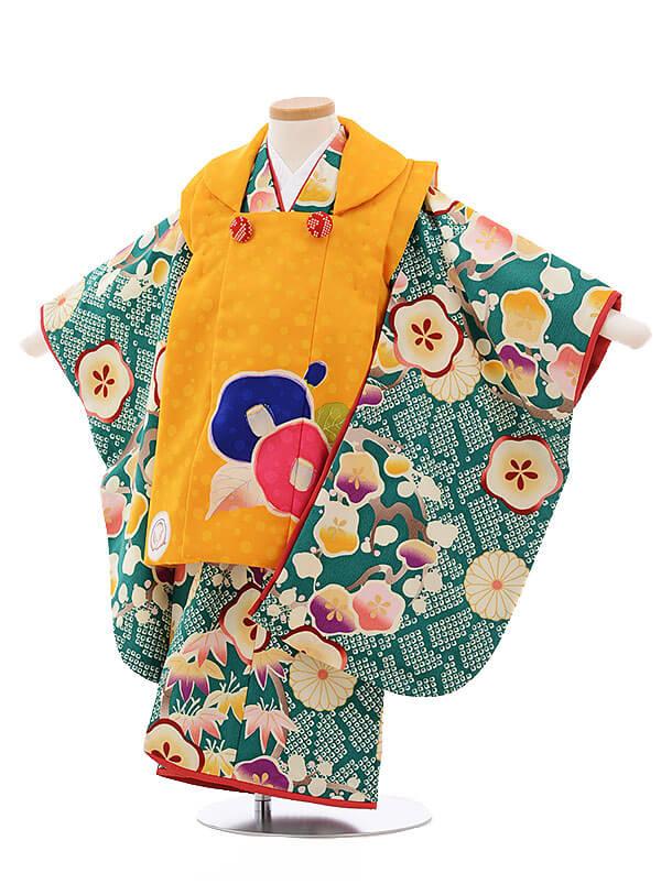 七五三レンタル(3歳女被布)3428UNSODO オレンジ色×グリーン 梅