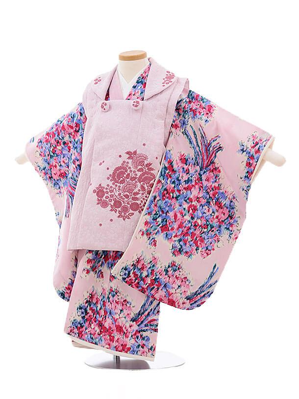 七五三レンタル(3歳女被布)3430JILLSTUARTうすピンク×ピンク花