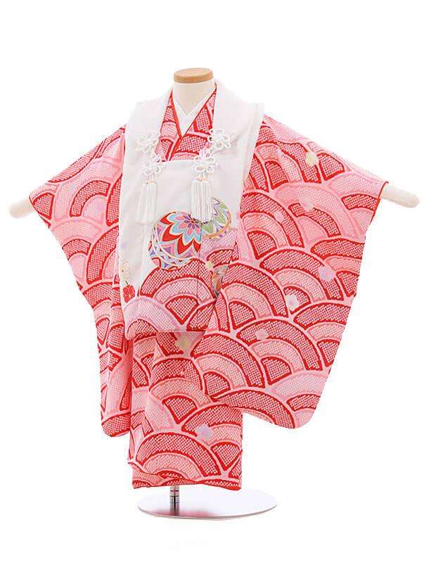 七五三レンタル(3歳女被布)3449 KAGURA 白×ピンク地 赤 波