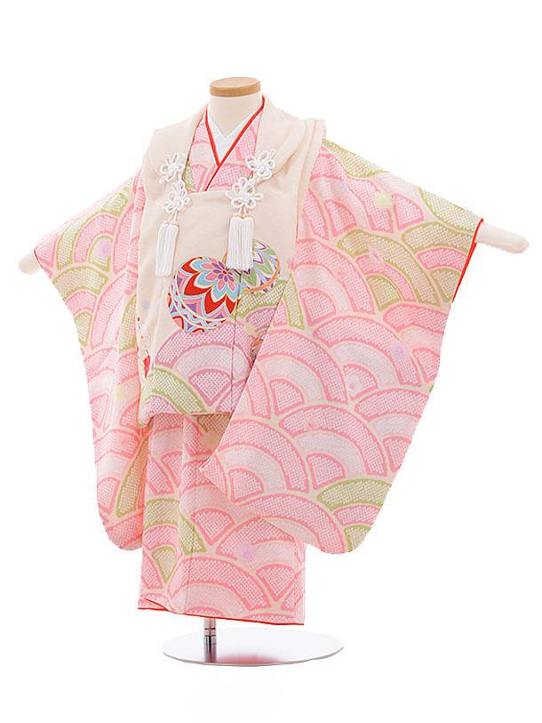 七五三(3歳女被布)3450 KAGURA クリーム色×クリーム地 ピンク 波