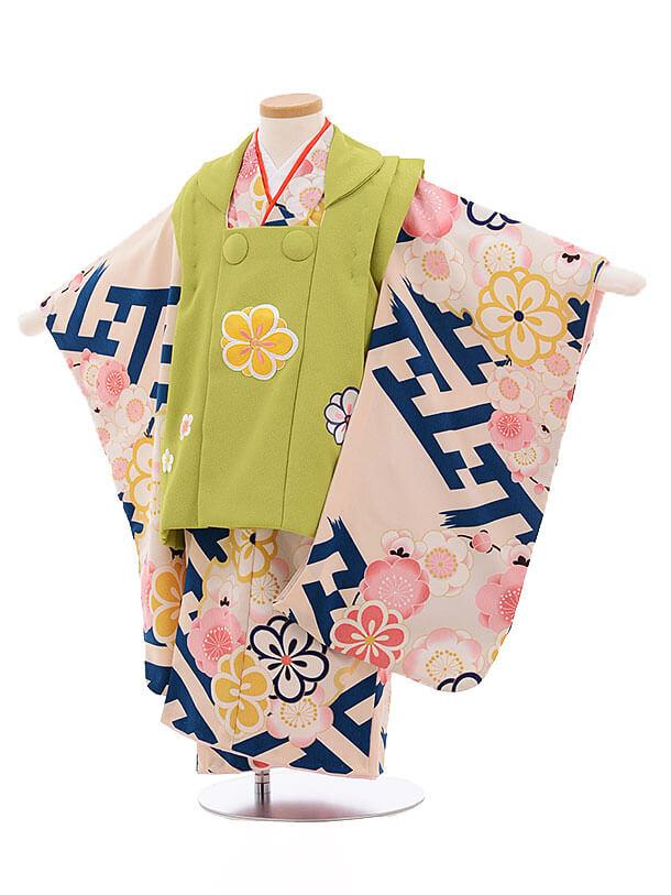 七五三レンタル(3歳女被布)3451 グリーン×紗綾型に梅