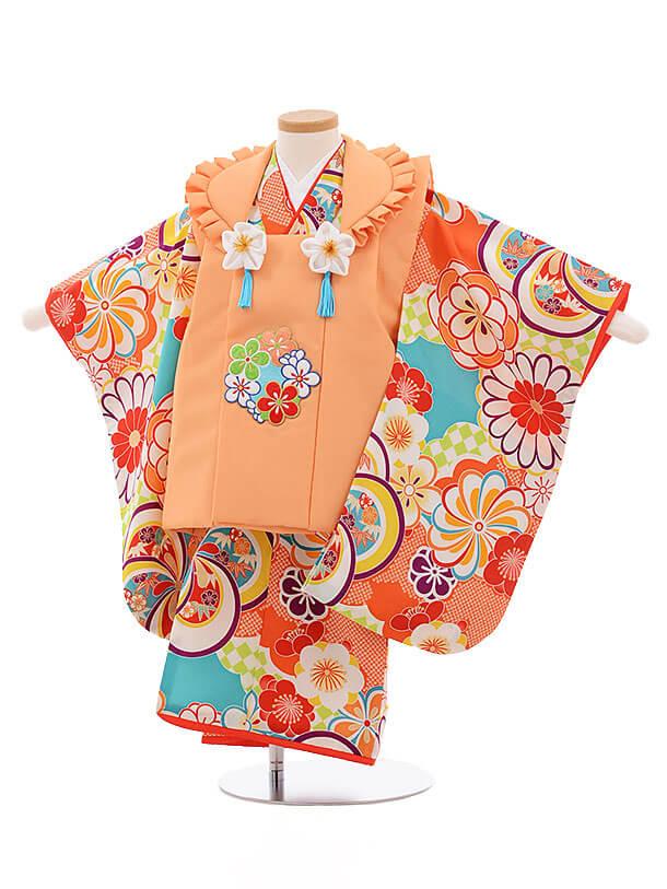 七五三(3歳女被布)3452 ぷちぷりオレンジ×ターコイズ 古典