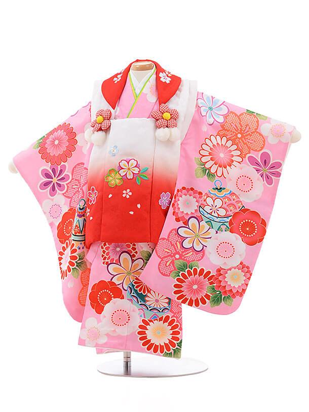 七五三レンタル(2歳女被布)3458 白ぼかし×ピンク 花鈴