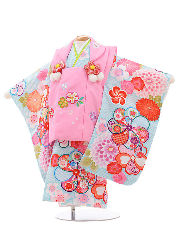 七五三レンタル(2歳女被布)3459 ピンク×水色 ねじり梅