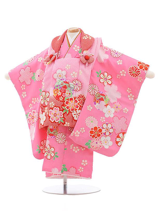 七五三レンタル(2歳女被布)3468 ピンクぼかし×ピンク 桜鈴