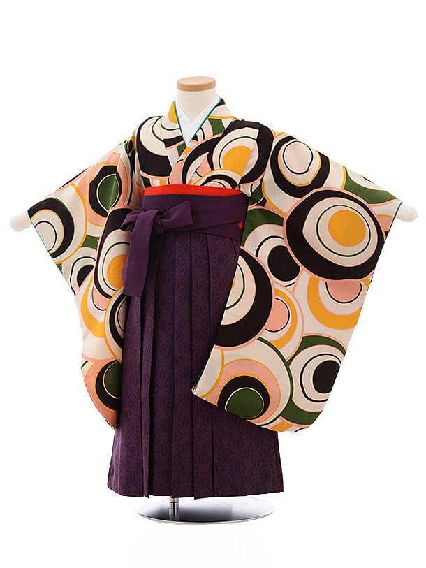 七五三(3歳女袴)3473 クリーム色丸柄×パープル袴