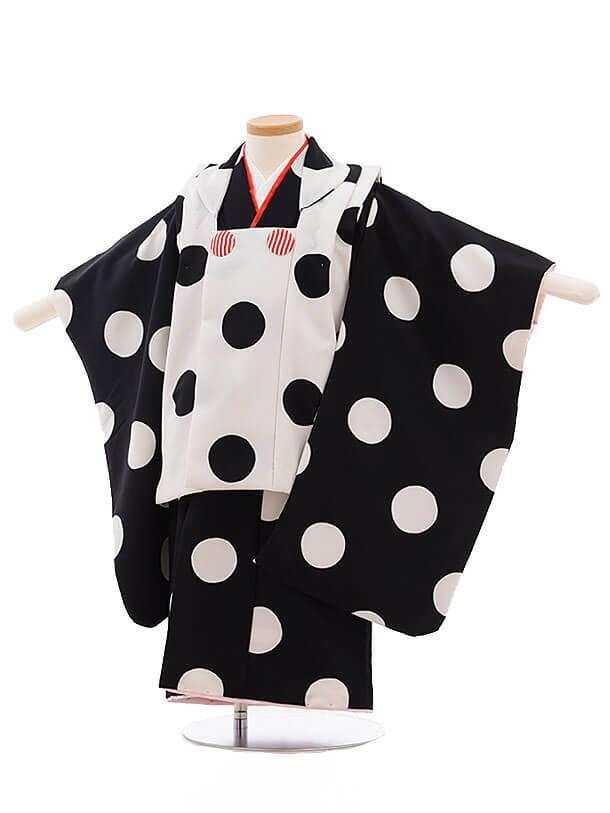 七五三(3歳女被布)3474 白×黒 白ドット