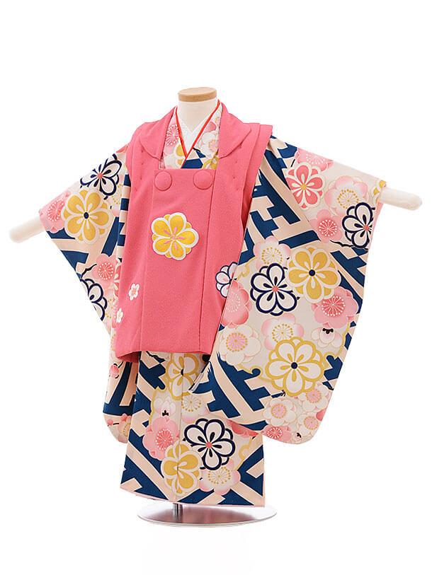 七五三(3歳女被布)3475 ピンク×紗綾型に梅