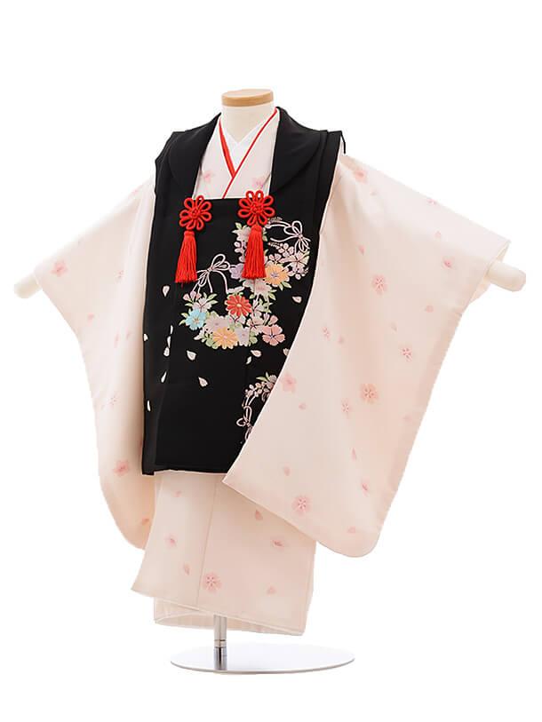 七五三レンタル(3歳女被布)3479 黒×うすピンク撫子