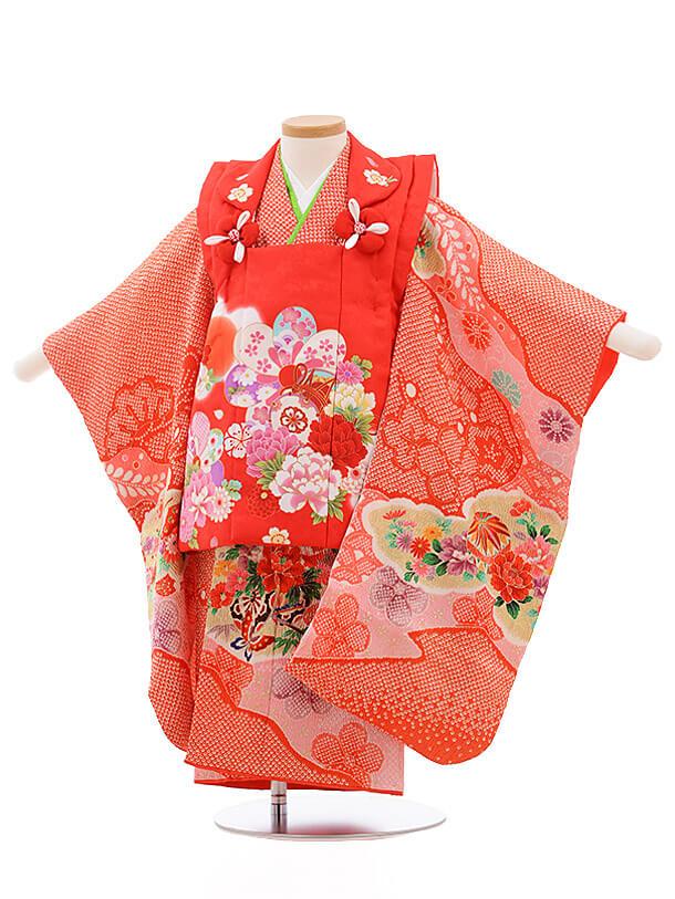 七五三レンタル(3歳女被布)3483 赤×赤 鹿の子 花