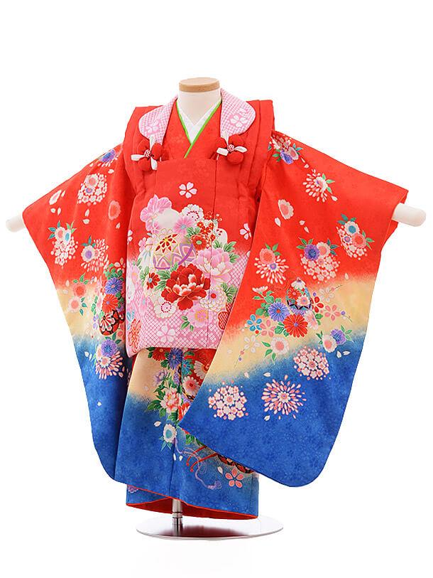 七五三レンタル(3歳女被布)3484 赤×赤 裾青 花