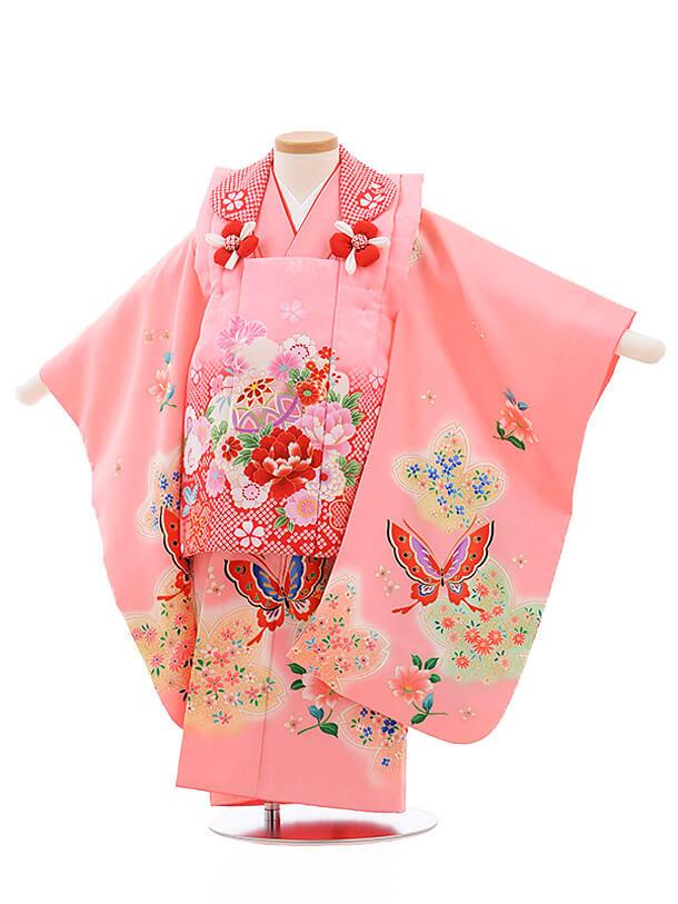 七五三レンタル(3歳女被布)3485 ピンク×ピンク 蝶
