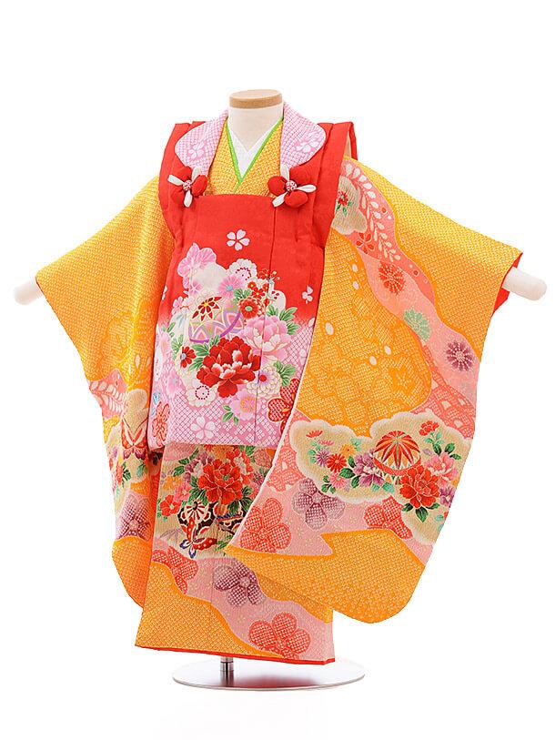 七五三レンタル(3歳女被布)3486 赤×黄色 鹿の子 花