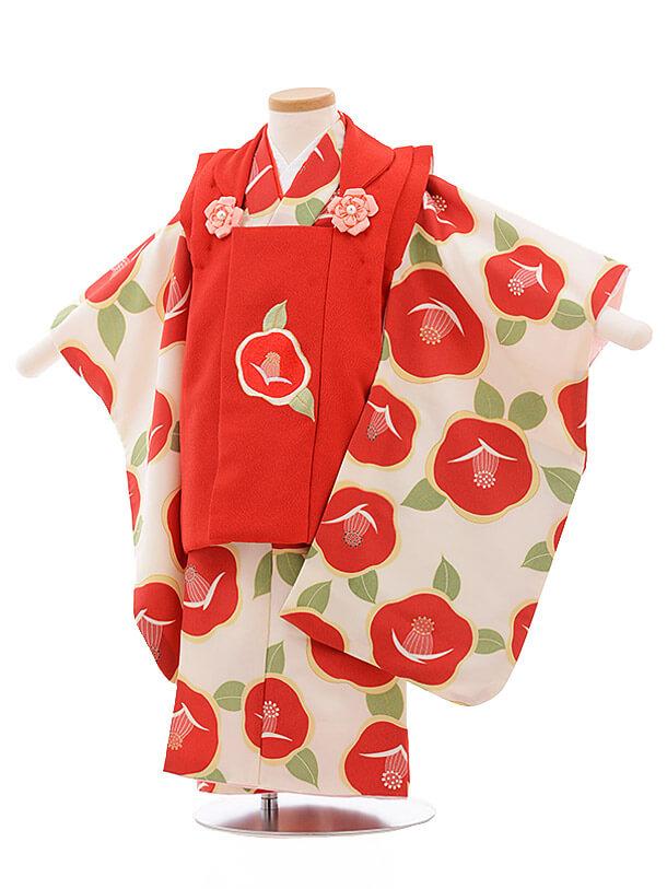 七五三レンタル(3歳女被布)3487 赤×白地 赤椿